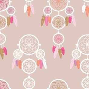 Dreamy dreamcatcher indian boho gypsy summer feathers design pastel black beige and pastel pink for girls