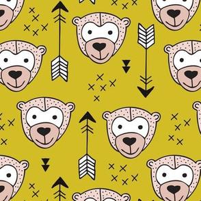 Cute geometric safari monkey zoo fun animals and arrows kids design in mustard