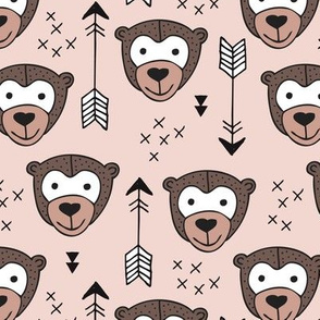Cute geometric safari monkey zoo fun animals and arrows kids design in gender neutral beige and brown