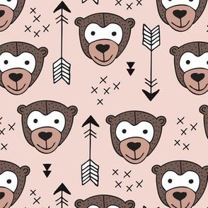Cute geometric safari monkey zoo fun animals and arrows kids design in gender neutral beige and brown