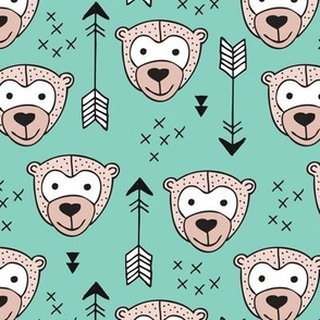 Cute geometric safari monkey zoo fun animals and arrows kids design in gender neutral beige and mint