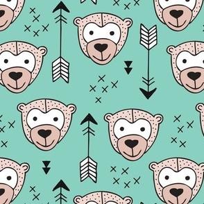 Cute geometric safari monkey zoo fun animals and arrows kids design in gender neutral beige and mint