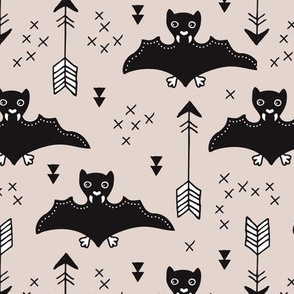 Cool bats flying dogs illustration design with geometric triangles and arrows for halloween and cool fashion gender neutral beige