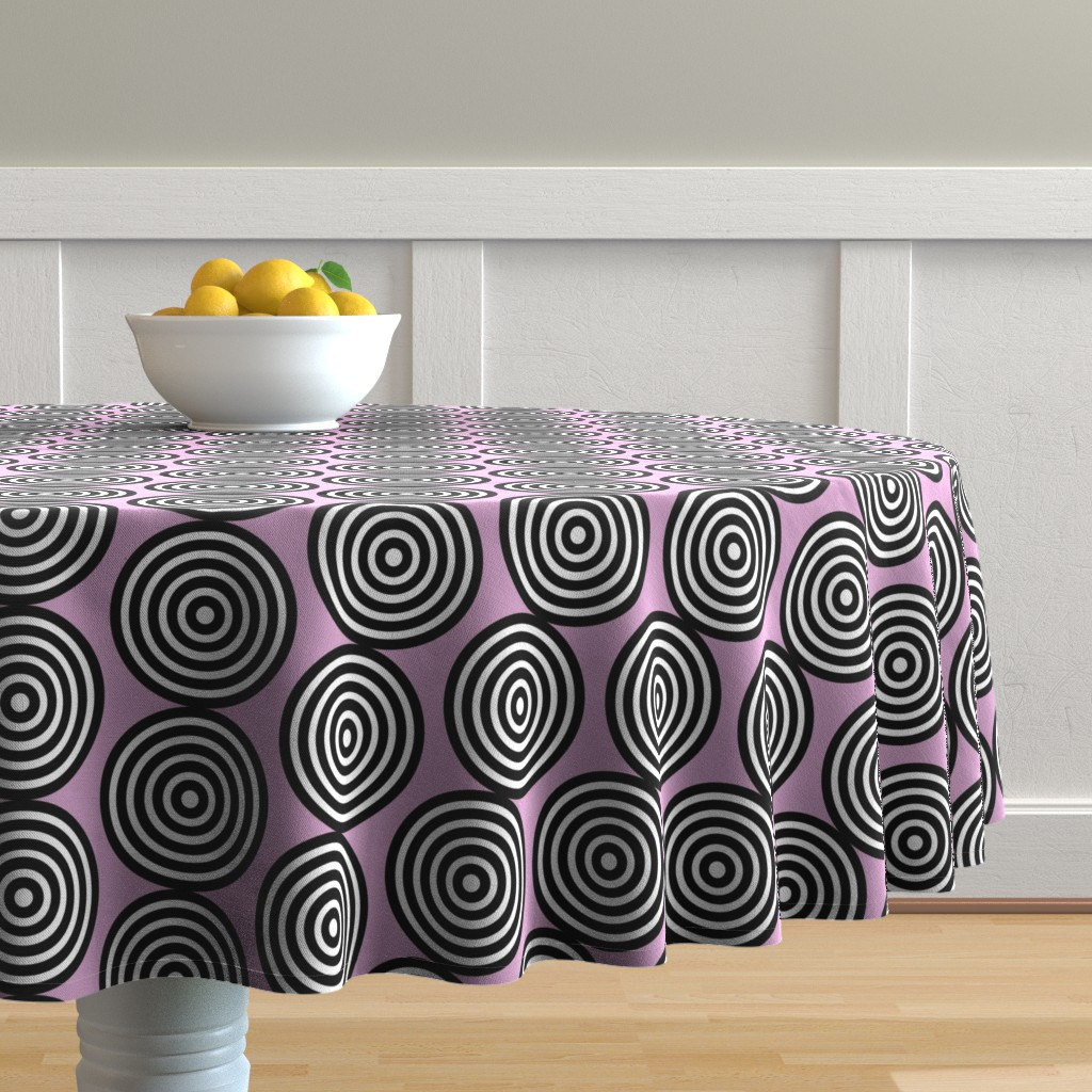 Malay Round Tablecloth featuring Lavender Lilac Purple Periwinkle Target Spots Dots_Miss Chiff Designs by misschiffdesigns