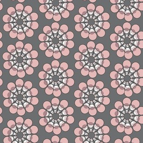 Retro Abstract Floral Grey Gray Pink || Mid-century Modern Flower Paris France  Mauve _Miss Chiff Designs