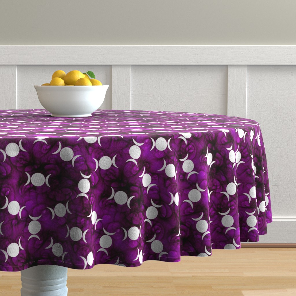Malay Round Tablecloth featuring Triple Goddes Symbo dk purple by trgatesart