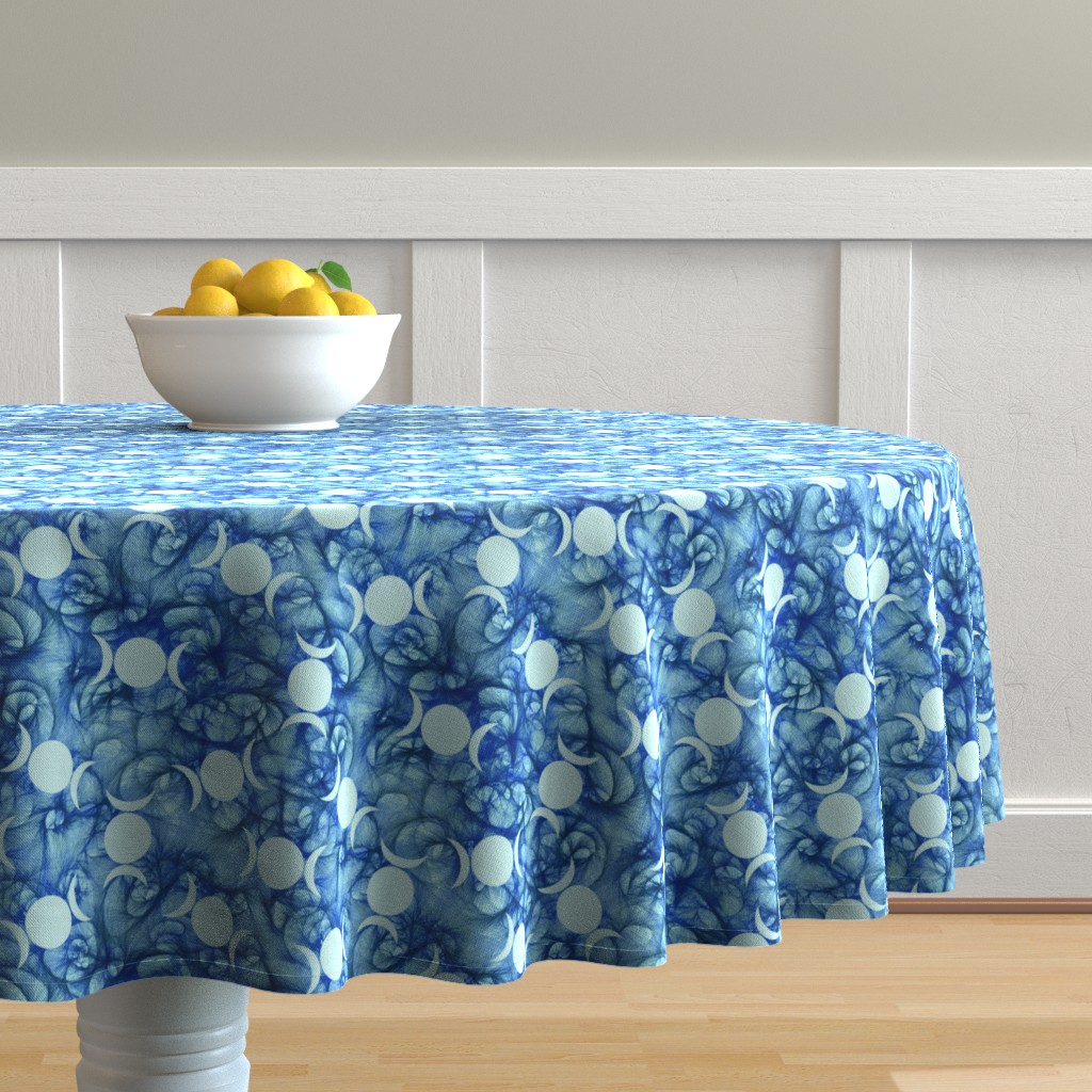 Malay Round Tablecloth featuring Triple Goddess bluish symbol by trgatesart