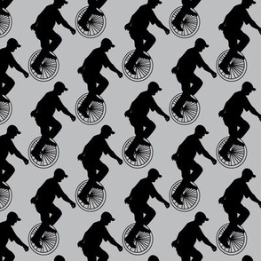 Unicycle Rider Silhouette || Novelty print Black Grey Gray Bicycle Sport _Miss Chiff Designs