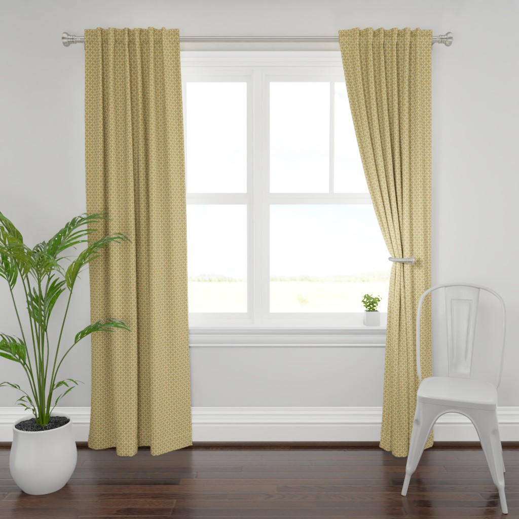 Plymouth Curtain Panel featuring Gold Stars by anniecdesigns