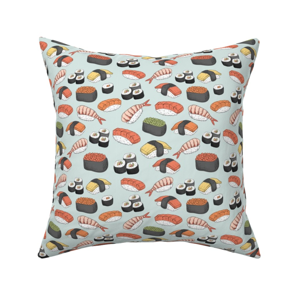 Catalan Throw Pillow featuring Sushi Roll Funny Food by furbuddy
