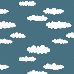 Dreams and clouds cool trendy scandinavian style hand drawn sky print dark blue night