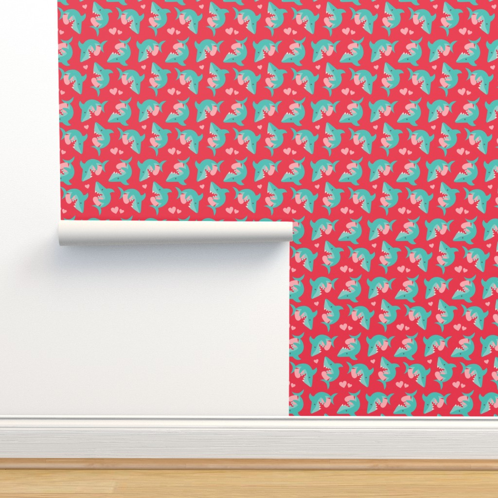 Isobar Durable Wallpaper featuring Valentine Sharks by dorkydoodles