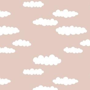 Dreams and clouds cool trendy scandinavian style hand drawn sky print gender neutral uni beige