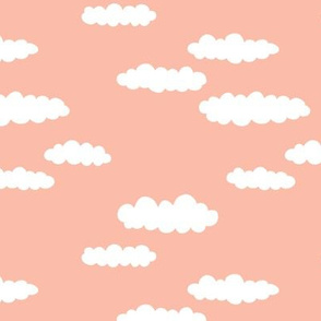 Dreams and clouds cool trendy scandinavian style hand drawn sky print girls peach pink