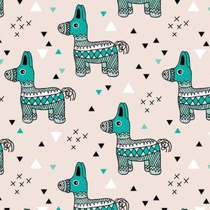 Cool piñata Llama birthday party mexican horse illustration geometric details mint