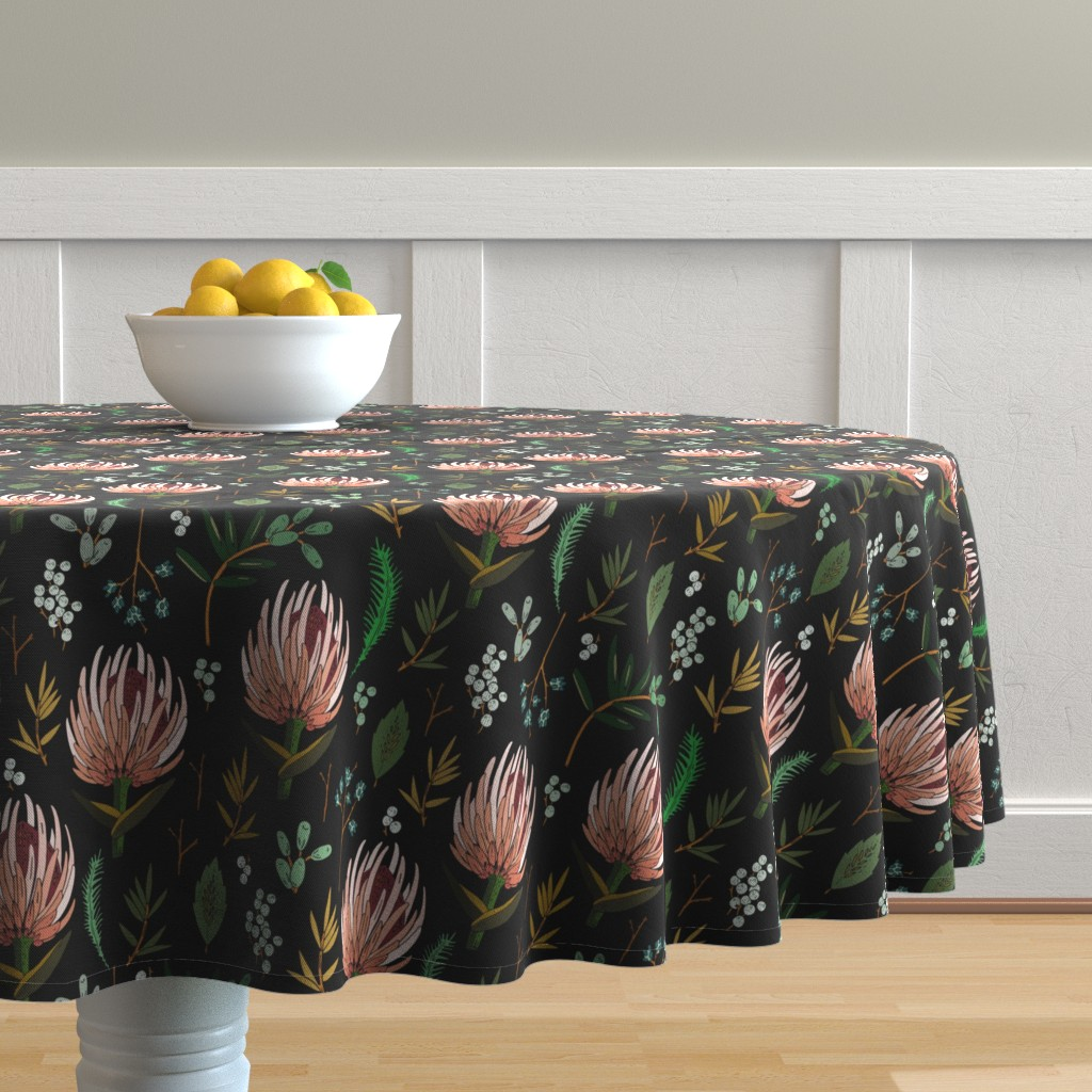 Malay Round Tablecloth featuring floral_study_dark by holli_zollinger