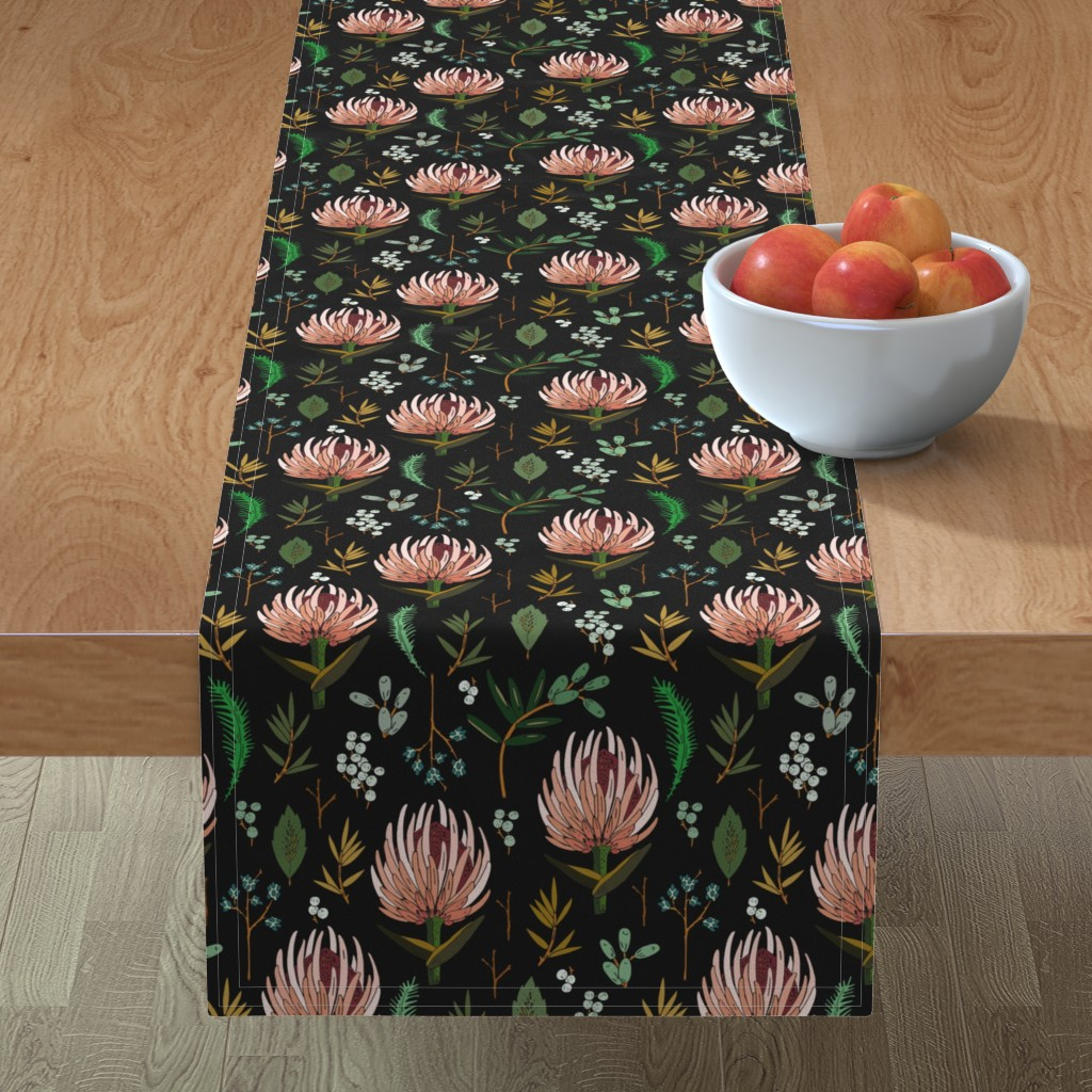 Minorca Table Runner featuring floral_study_dark by holli_zollinger