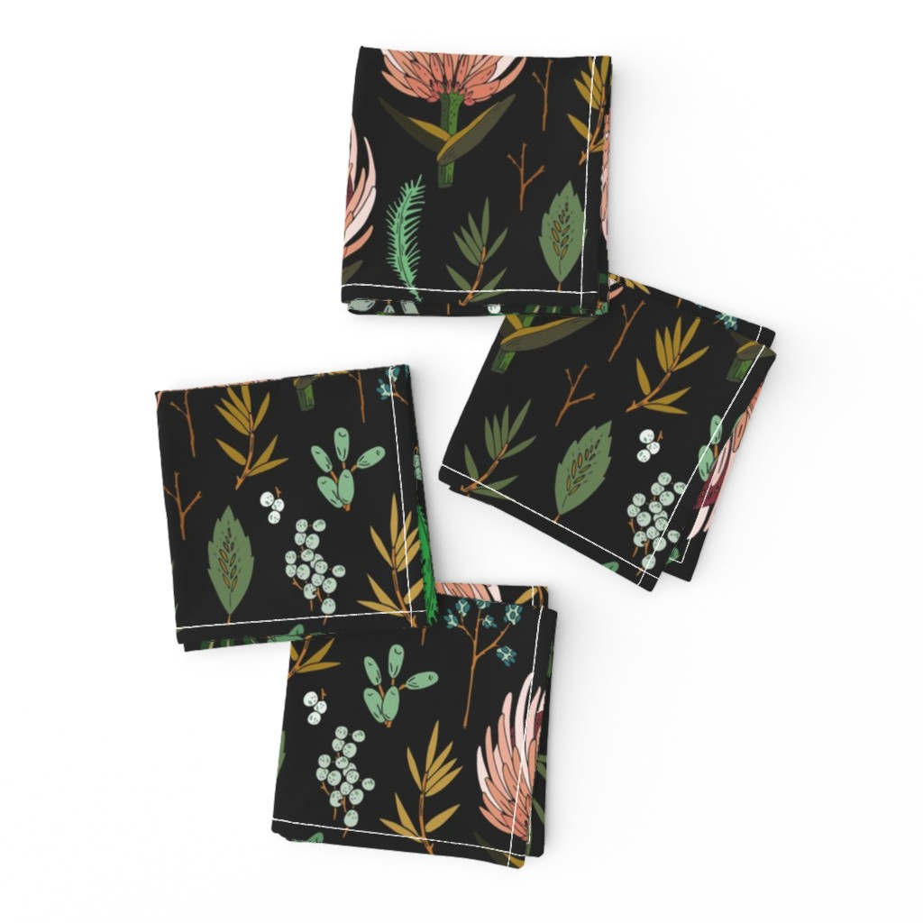 Frizzle Cocktail Napkins featuring floral_study_dark by holli_zollinger