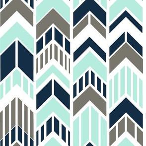 Chevron Arrows Navy Gray Aqua Stripes