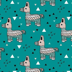 Cool piñata birthday party mexican horse illustration geometric details teal