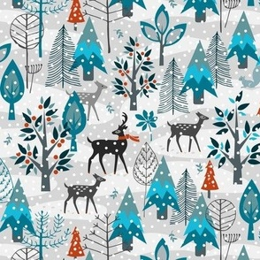 Winter Snow Woodland Animals Small