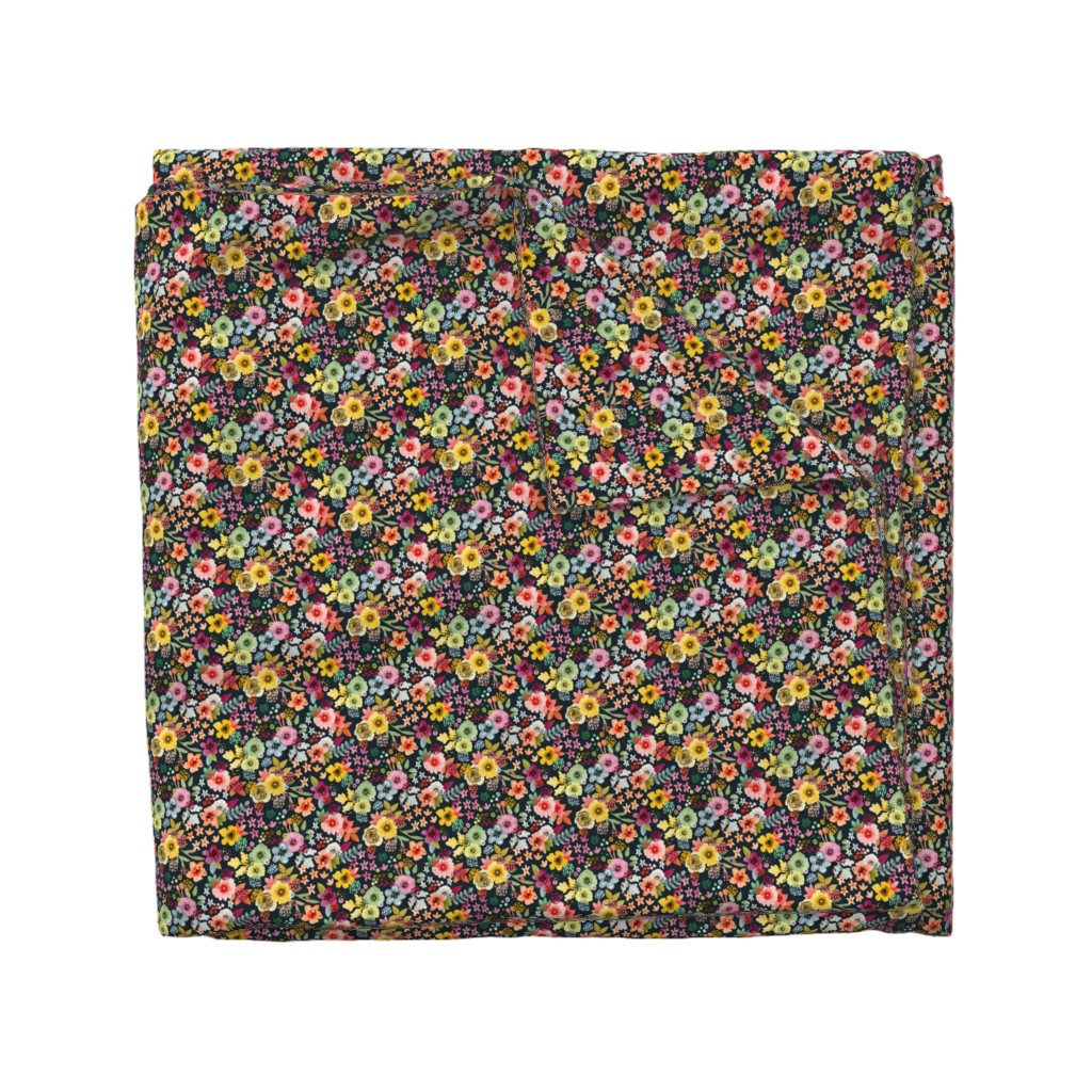 Wyandotte Duvet Cover featuring Spring Floral at Night Small Scale by Angel Gerardo by angelger28