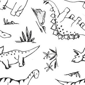 Sketched Dinosaurs in B&W