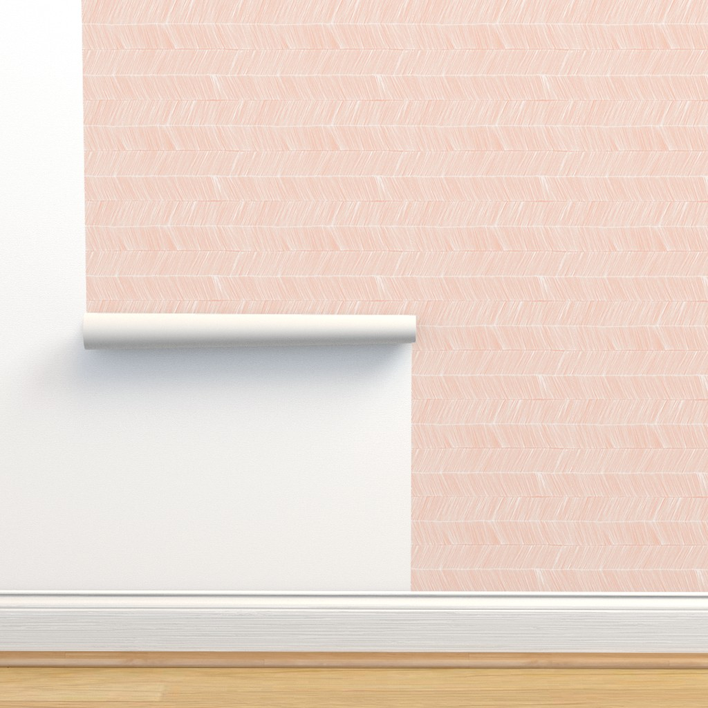 Isobar Durable Wallpaper featuring herringbone peach - rotated 90 degrees by papercanoefabricshop