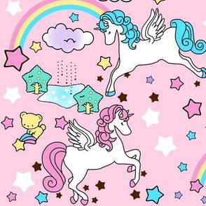 2 Pegasus winged unicorns pegacorns stars rainbows clouds trees ponds lakes teddy bears shooting cats fairy kei lolita sky skies pony ponies horses kawaii japanese inspired moon castles  colorful