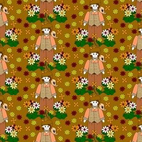 Elmer Victorian Doll, Birds and Flowers Fabric #1