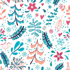 Winter flowers and snowflakes seamless pattern