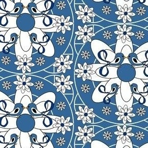 Blue Bell Sara Victorian Lady Birds and Flowers Fabric #2