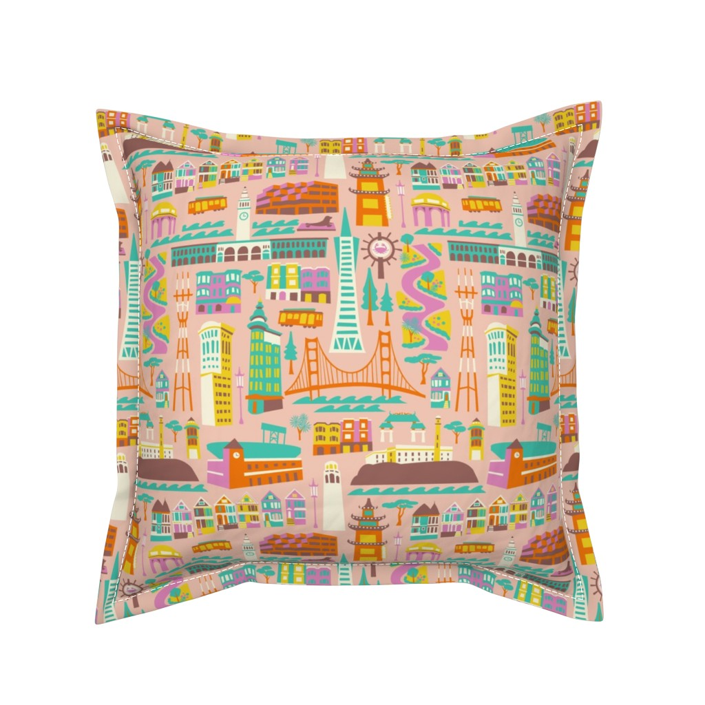 Serama Throw Pillow featuring Going to San Francisco by allisonbeilkedesigns