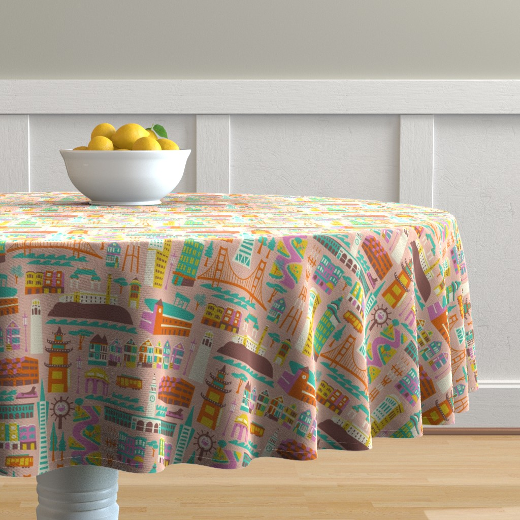 Malay Round Tablecloth featuring Going to San Francisco by allisonbeilkedesigns