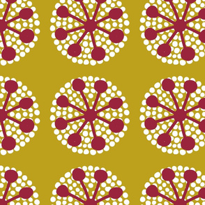 Dotted Pin Flowers on mustard