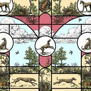 Spring Stained Glass Small, Toile Greyhounds