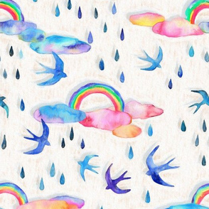 Pastel Rainbows and Swallows - light