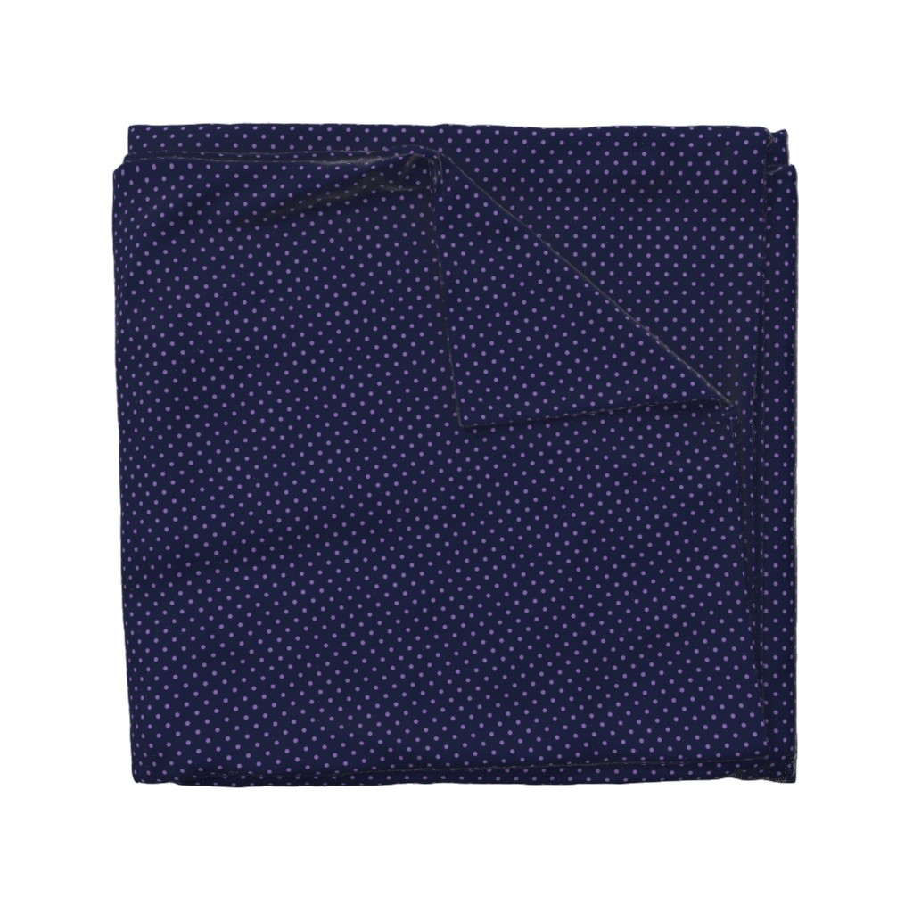 Wyandotte Duvet Cover featuring Polka Dot Purple on Navy by anniemathews