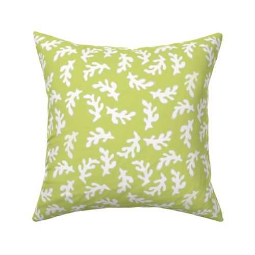 White Coral Pieces On Bright Green Spoonflower