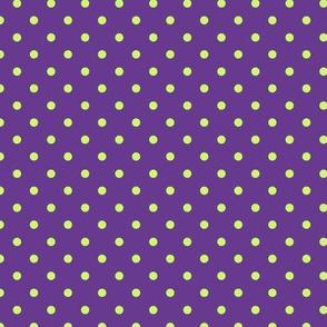 Polka Dot Lime Green on Purple
