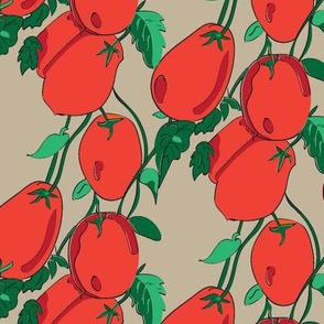 16-13AK Vine Tomato Italian Italy Vegetable Fruit Garden Gardener Food Orange Red Green Tan Khaki _Miss Chiff Designs