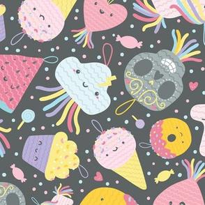 Cute pinatas. Mexican sugar scull, ice cream, unicorn, cupcake, donut, funny heart.
