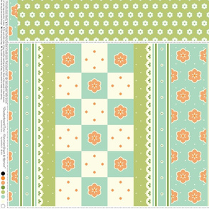 Checkerboard Tote - Victorian Green and Apricot - flexible kit plus bonus
