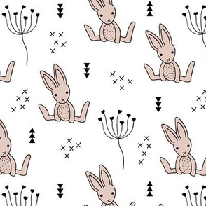 Adorable little baby bunny geometric scandinavian style rabbit for kids gender neutral black and white