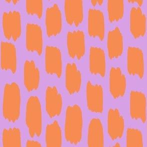 Orange swatches on Lavender