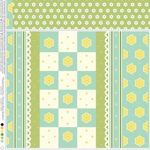 Checkerboard Tote - Victorian Green and Lemon - flexible kit plus bonus