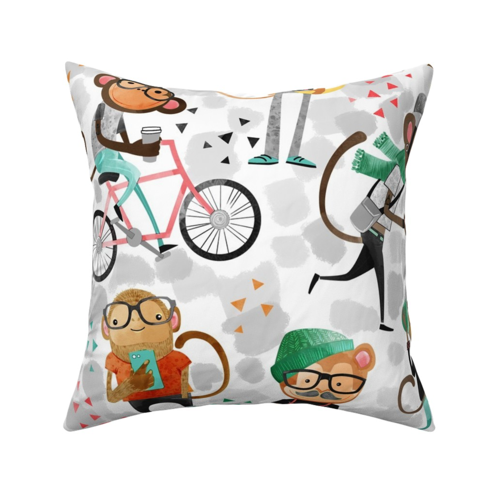 Catalan Throw Pillow featuring monkeys_watercolor2 by michaelzindell