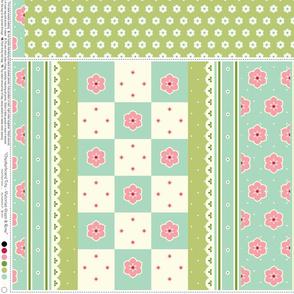 Checkerboard Tote - Victorian Green and Rose - flexible kit plus bonus