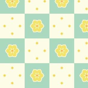 Checkerboard Petal - Victorian Lemon