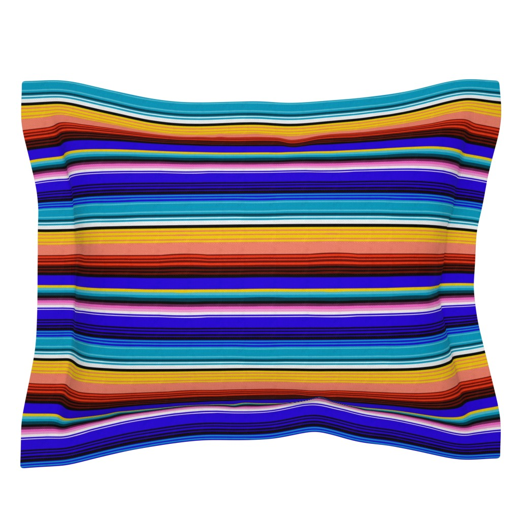 Sebright Pillow Sham featuring Mexican Stripes by vannina
